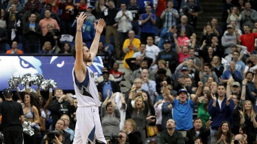 <p>Oct 30, 2013; Minneapolis, MN, USA; Minnesota Timberwolves forward Kevin Love (42) celebrates after a game-tying basket during the fourth quarter against the Orlando Magic at Target Center. The Timberwolves defeated the Magic 120-115 in overtime. Mandatory Credit: Brace Hemmelgarn-USA TODAY Sports ,Oct 30, 2013; Minneapolis, MN, USA; Minnesota Timberwolves forward Kevin Love (42) celebrates after a game-tying basket during the fourth quarter against the Orlando Magic at Target Center. The Timberwolves defeated the Magic 120-115 in overtime. Mandatory Credit: Brace Hemmelgarn-USA TODAY Sports</p>