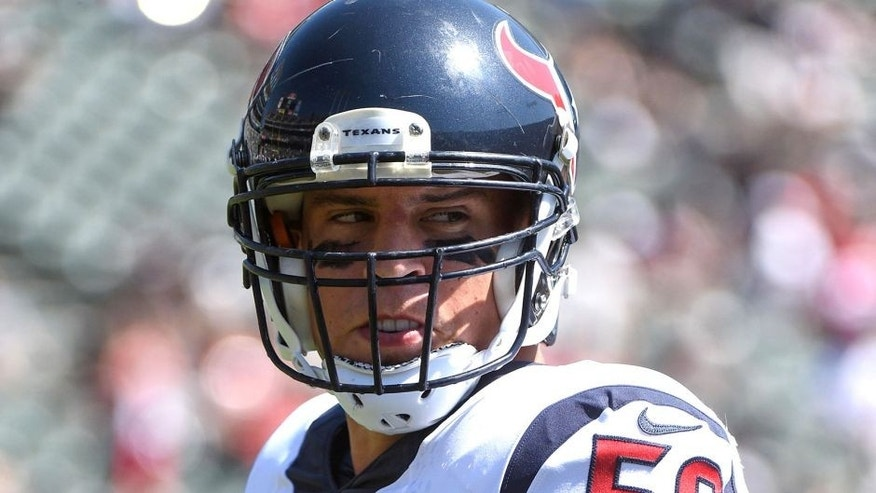 September 14, 2014; Oakland, CA, USA; Houston Texans inside linebacker Brian Cushing (56) before the game against the Oakland Raiders at O.co Coliseum. The Texans defeated the Raiders 30-14. Mandatory Credit: Kyle Terada-USA TODAY Sports