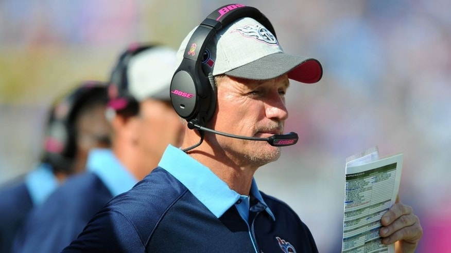 Oct 11, 2015; Nashville, TN, USA; Tennessee Titans head coach Ken Whisenhunt during the second half against the Buffalo Bills at Nissan Stadium. The Bills won 14-13. Mandatory Credit: Christopher Hanewinckel-USA TODAY Sports