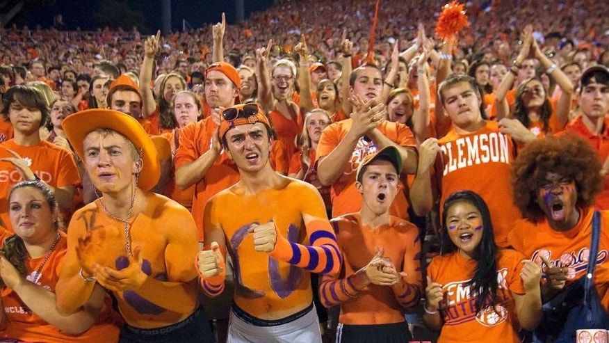 Sep 27, 2014; Clemson, SC, USA; Clemson Tigers fans react during the second quarter against the North Carolina Tar Heels at Clemson Memorial Stadium. Mandatory Credit: Joshua S. Kelly-USA TODAY Sports