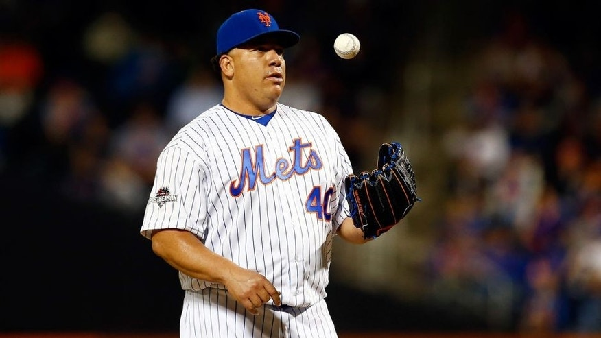 NEW YORK, NY - OCTOBER 13: Bartolo Colon #40 of the New York Mets reacts in the sixth inning against the Los Angeles Dodgers during game four of the National League Division Series at Citi Field on October 13, 2015 in New York City. (Photo by Mike Stobe/Getty Images)