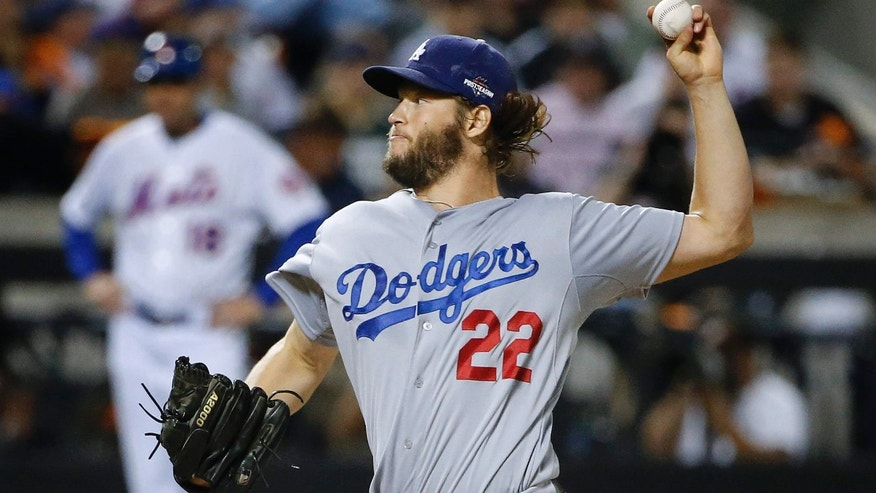 Oct. 13, 2015: Los Angeles Dodgers pitcher Clayton Kershaw (22) delivers against the New York Mets during the first inning of baseball's Game 4 of the National League Division Series in New York.