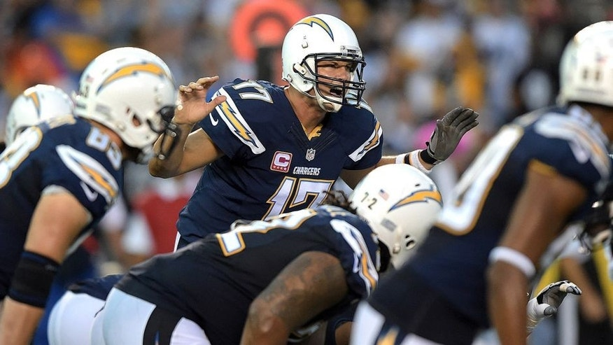 Oct 12, 2015; San Diego, CA, USA; San Deigo Chargers quarterback Philip Rivers (17) audibles against the Pittsburgh Steelers at Qualcomm Stadium. Mandatory Credit: Kirby Lee-USA TODAY Sports