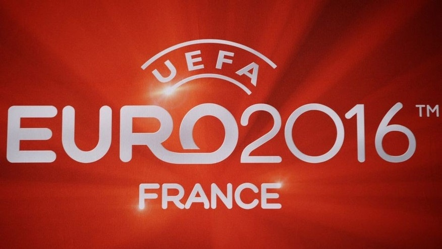 Picture taken on October 23, 2012 in Paris shows the logo of the Euro 2016 football tournament at the FFF headquarters in Paris. AFP PHOTO/ LIONEL BONAVENTURE (Photo credit should read LIONEL BONAVENTURE/AFP/Getty Images)
