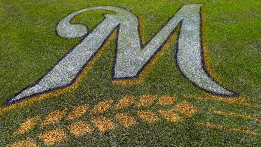 May 5, 2013; Milwaukee, WI, USA; The Milwaukee Brewers logo on the field behind home plate prior to the game against the St. Louis Cardinals at Miller Park. Mandatory Credit: Jeff Hanisch-USA TODAY Sports