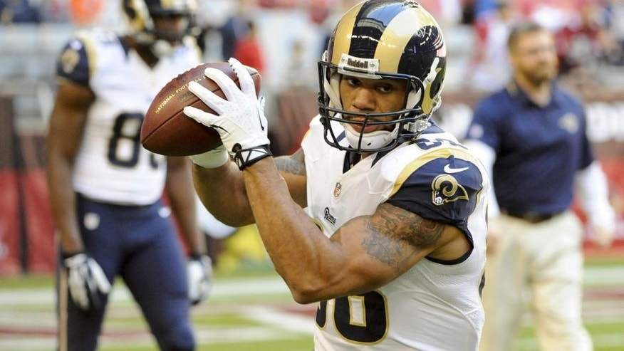 Dec 8, 2013; Phoenix, AZ, USA; St. Louis Rams tight end Lance Kendricks (88) warms up before the first quarter against the Arizona Cardinals at University of Phoenix Stadium. Mandatory Credit: Casey Sapio-USA TODAY Sports