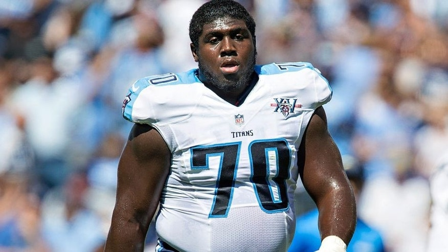 NASHVILLE, TN - SEPTEMBER 22: Chance Warmack #70 of the Tennessee Titans on the field during a game against the San Diego Chargers at LP Field on September 22, 2013 in Nashville, Tennessee. The Titans defeated the Chargers 20-17. (Photo by Wesley Hitt/Getty Images)