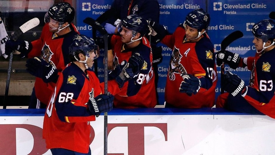 """<p style=""""font-family: tahoma, arial, helvetica, sans-serif; font-size: 12px;"""">Oct 15, 2015; Sunrise, FL, USA; Florida Panthers right wing Jaromir Jagr (68) celebrates his goal against the Buffalo Sabres with teammates in the first period at BB&T Center. Mandatory Credit: Robert Mayer-USA TODAY Sports</p>"""