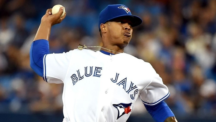 Sep 18, 2015; Toronto, Ontario, CAN; Toronto Blue Jays pitcher Marcus Stroman (6) delivers a pitch against Boston Red Sox at Rogers Centre. Mandatory Credit: Dan Hamilton-USA TODAY Sports