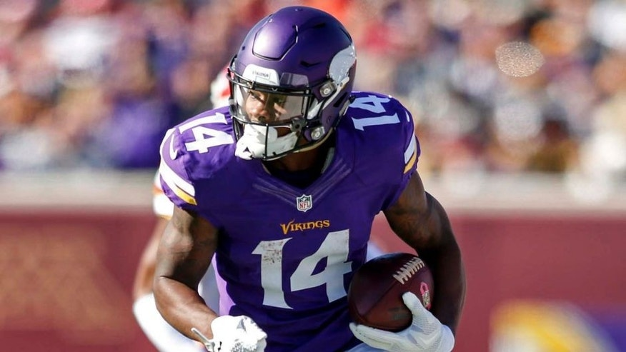 Minnesota Vikings wide receiver Stefon Diggs catches a pass against the Kansas City Chiefs in the first quarter at TCF Bank Stadium in Minneapolis on Sunday, Oct. 18, 2015.