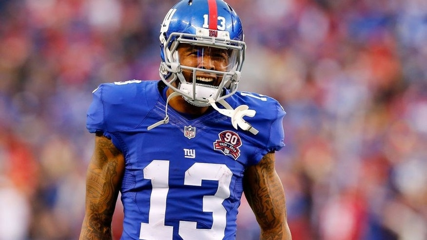 EAST RUTHERFORD, NJ - NOVEMBER 16: (NEW YORK DAILIES OUT) Odell Beckham #13 of the New York Giants in action against the San Francisco 49ers on November 16, 2014 at MetLife Stadium in East Rutherford, New Jersey. The 49ers defeated the Giants 16-10. (Photo by Jim McIsaac/Getty Images)