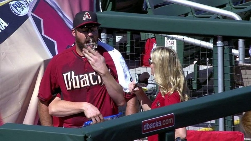 Josh Collmenter chats with Jody Jackson about being announced as the opening day starter. But Trevor Cahill can't seem to keep his hands to himself.
