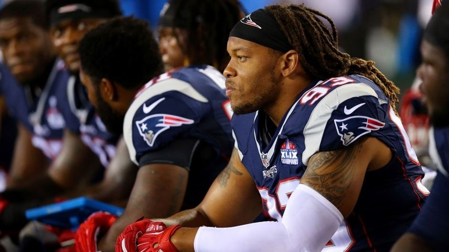 FOXBORO, MA - SEPTEMBER 10: Jabaal Sheard #93 of the New England Patriots looks on from the bench in the game against the Pittsburgh Steelers at Gillette Stadium on September 10, 2015 in Foxboro, Massachusetts. (Photo by Maddie Meyer/Getty Images)