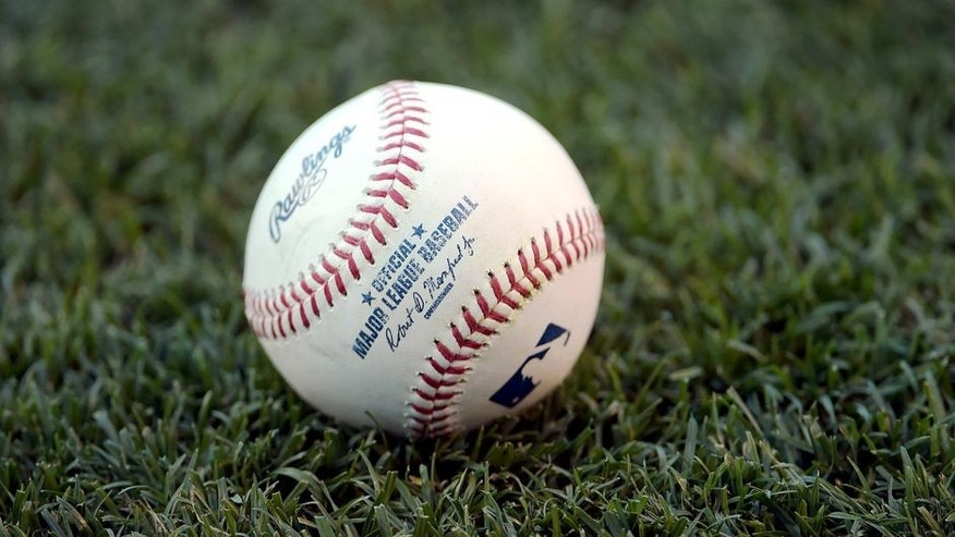 Jun 15, 2015; Anaheim, CA, USA; General view of a Rawlings baseball before the MLB game between the Arizona Diamondbacks against the Los Angeles Angels at Angel Stadium of Anaheim. Mandatory Credit: Kirby Lee-USA TODAY Sports