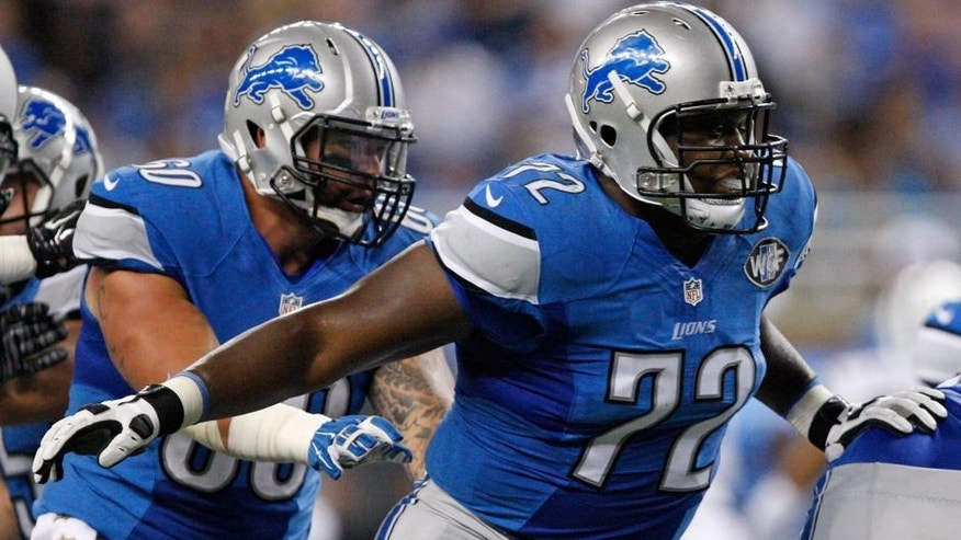 Aug 13, 2015; Detroit, MI, USA; Detroit Lions offensive guard Laken Tomlinson (72) looks to make a block during the second quarter of a preseason NFL football game against the New York Jets at Ford Field. Mandatory Credit: Raj Mehta-USA TODAY Sports