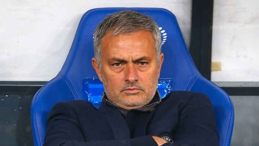 KIEV, UKRAINE - OCTOBER 20: Jose Mourinho of Chelsea looks on prior to kick off during the UEFA Champions League Group G match between FC Dynamo Kyiv and Chelsea at the Olympic Stadium on October 20, 2015 in Kiev, Ukraine. (Photo by Clive Rose/Getty Images)