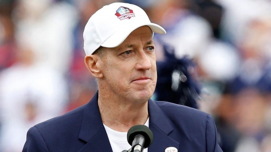 Sep 14, 2014; Orchard Park, NY, USA; Former Buffalo Bills quarterback Jim Kelly gives a speech during a tribute to Ralph Wilson before the game between the Buffalo Bills and the Miami Dolphins at Ralph Wilson Stadium. Mandatory Credit: Kevin Hoffman-USA TODAY Sports