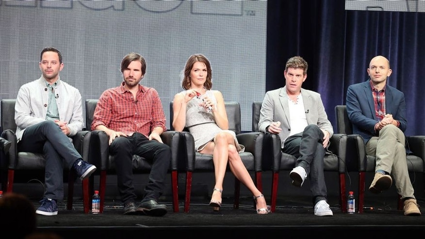 BEVERLY HILLS, CA - AUGUST 07: (L-R) Actors Nick Kroll, Jonathan Lajoie, Katie Aselton, Stephen Rannazzisi and Paul Scheer speak onstage during 'The League' panel discussion at the FX portion of the 2015 Summer TCA Tour at The Beverly Hilton Hotel on August 7, 2015 in Beverly Hills, California. (Photo by Frederick M. Brown/Getty Images)