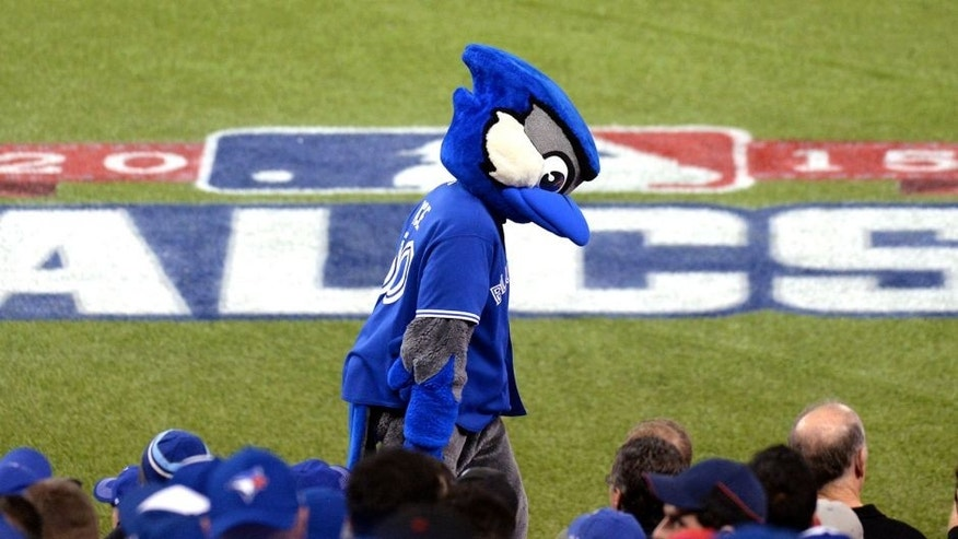 TORONTO, CANADA - OCTOBER 19: Toronto Blue Jays mascot Ace is seen on top of the dugout during Game 3 of the ALCS against the Kansas City Royals at the Rogers Centre on Monday, October 19, 2015 in Toronto, Canada. (Photo by Jon Blacker/MLB Photos via Getty Images)