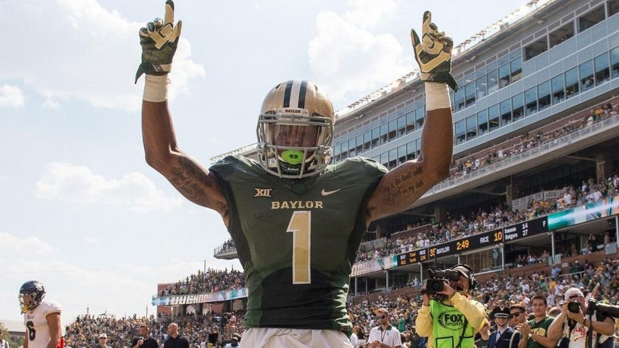 Sep 26, 2015; Waco, TX, USA; Baylor Bears wide receiver Corey Coleman (1) celebrates his touchdown against the Rice Owls during the second quarter at McLane Stadium. Mandatory Credit: Jerome Miron-USA TODAY Sports