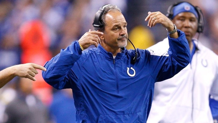 INDIANAPOLIS, IN - OCTOBER 18: Head coach Chuck Pagano of the Indianapolis Colts reacts on the sideline during a game against the New England Patriots at Lucas Oil Stadium on October 18, 2015 in Indianapolis, Indiana. The Patriots defeated the Colts 34-27. (Photo by Joe Robbins/Getty Images)