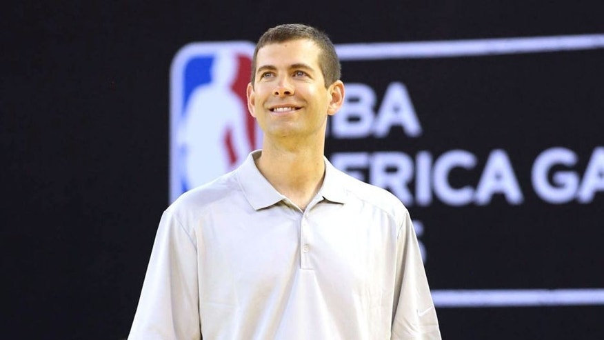 JOHANNESBURG, SA - JULY 31: Assistant Coach Brad Stevens of Team World smiles during practice for the NBA Africa Game 2015 as part of Basketball Without Borders on July 31, 2015 at the Ellis Park Arena in Johannesburg, South Africa. NOTE TO USER: User expressly acknowledges and agrees that, by downloading and or using this photograph, User is consenting to the terms and conditions of the Getty Images License Agreement. Mandatory Copyright Notice: Copyright 2015 NBAE (Photo by Joe Murphy/NBAE via Getty Images)