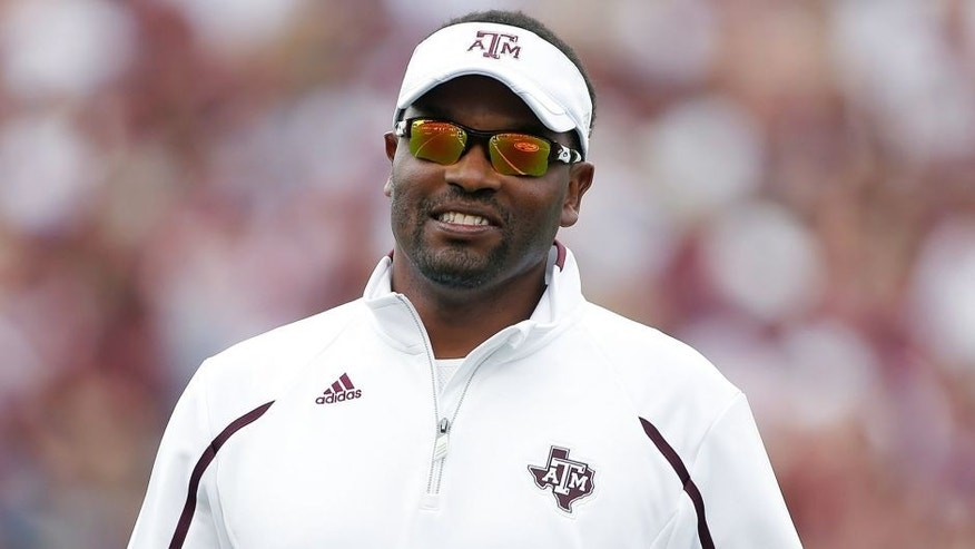 COLLEGE STATION, TX - APRIL 13: Head coach Kevin Sumlin of the Texas A&M Aggies watches the play during the Maroon & White spring football game at Kyle Field on April 13, 2013 in College Station, Texas. (Photo by Scott Halleran/Getty Images)