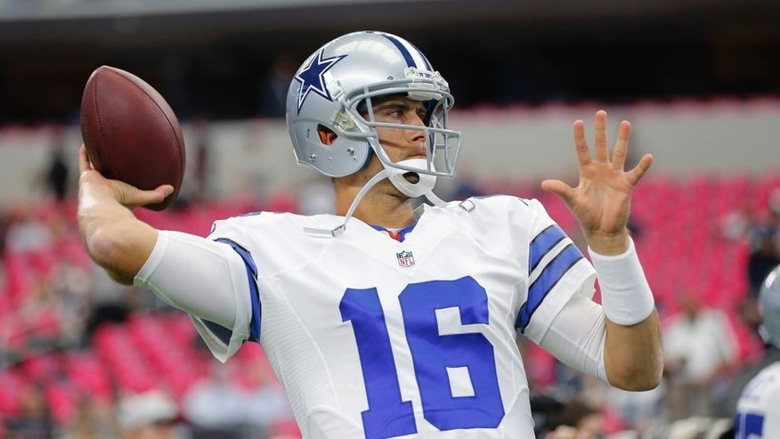 FILE - In this Oct. 11, 2015, file photo, Dallas Cowboys' Matt Cassel (16) throws before an NFL football game against the New England Patriots in Arlington, Texas. Matt Cassel appears on the verge of being named the starter for the Cowboys after Brandon Weeden went 0-3 filling in for Tony Romo. (AP Photo/Brandon Wade, File)