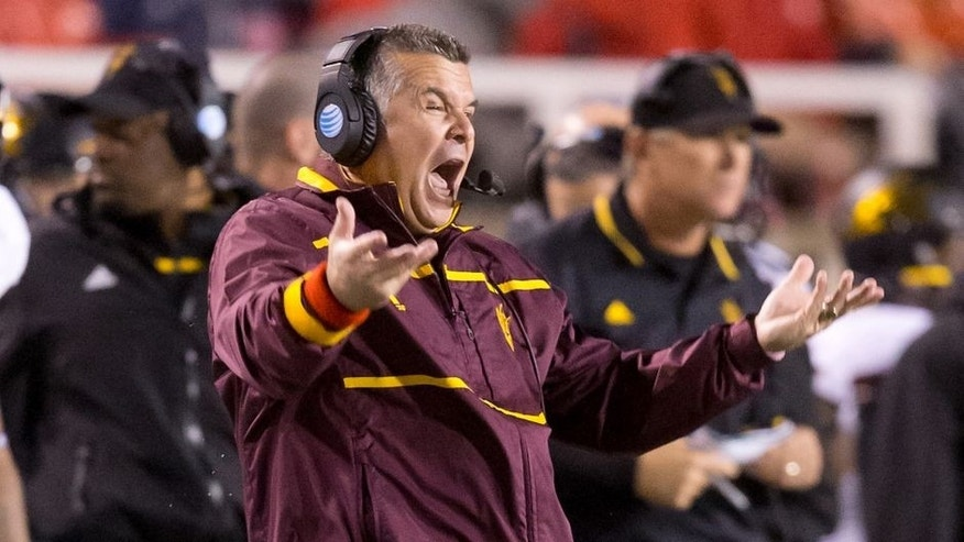 Oct 17, 2015; Salt Lake City, UT, USA; Arizona State Sun Devils head coach Todd Graham reacts during the second half against the Utah Utes at Rice-Eccles Stadium. Utah won 34-18. Mandatory Credit: Russ Isabella-USA TODAY Sports