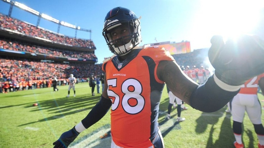Dec 28, 2014; Denver, CO, USA; Denver Broncos outside linebacker Von Miller (58) before the start of the game against the Oakland Raiders at Sports Authority Field at Mile High. Mandatory Credit: Ron Chenoy-USA TODAY Sports
