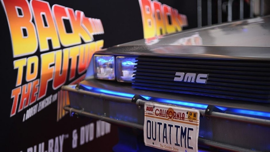 "<p style=""font-family: tahoma, arial, helvetica, sans-serif; font-size: 12px;"">NEW YORK, NY - OCTOBER 21: A DeLorean car on the red carpet during the Back to the Future reunion with fans in celebration of the Back to the Future 30th Anniversary Trilogy on Blu-ray and DVD on October 21, 2015 at AMC Loews Lincoln Square 13 in New York City. (Photo by Ilya S. Savenok/Getty Images for Universal Pictures Home Entertainment)</p>"