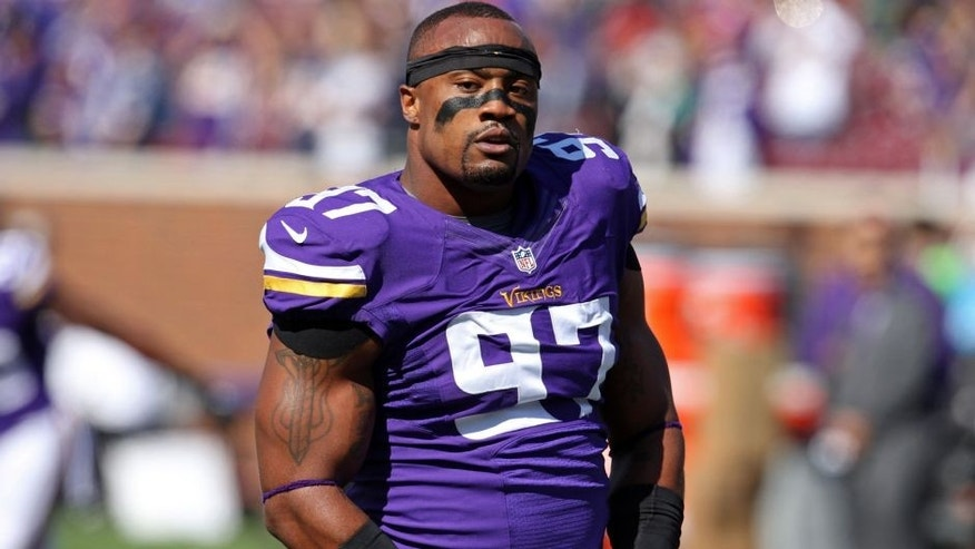 <p>Sep 14, 2014; Minneapolis, MN, USA; Minnesota Vikings defensive end Everson Griffen (97) against the New England Patriots at TCF Bank Stadium. The Patriots defeated the Vikings 30-7. Mandatory Credit: Brace Hemmelgarn-USA TODAY Sports ,Sep 14, 2014; Minneapolis, MN, USA; Minnesota Vikings defensive end Everson Griffen (97) against the New England Patriots at TCF Bank Stadium. The Patriots defeated the Vikings 30-7. Mandatory Credit: Brace Hemmelgarn-USA TODAY Sports</p>