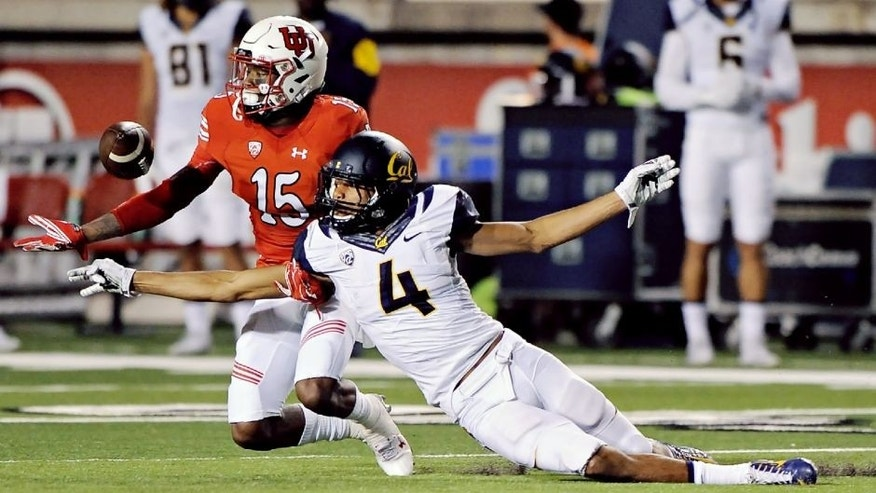 <p>SALT LAKE CITY, UT - OCTOBER 10: Cornerback Dominique Hatfield #15 of the Utah Utes intercepts the pass intended for wide receiver Kenny Lawler #4 of the California Golden Bears, in the second quarter at Rice-Eccles Stadium on October 10, 2015 in Salt Lake City, Utah. (Photo by Gene Sweeney Jr/Getty Images)<br> <br> </p>