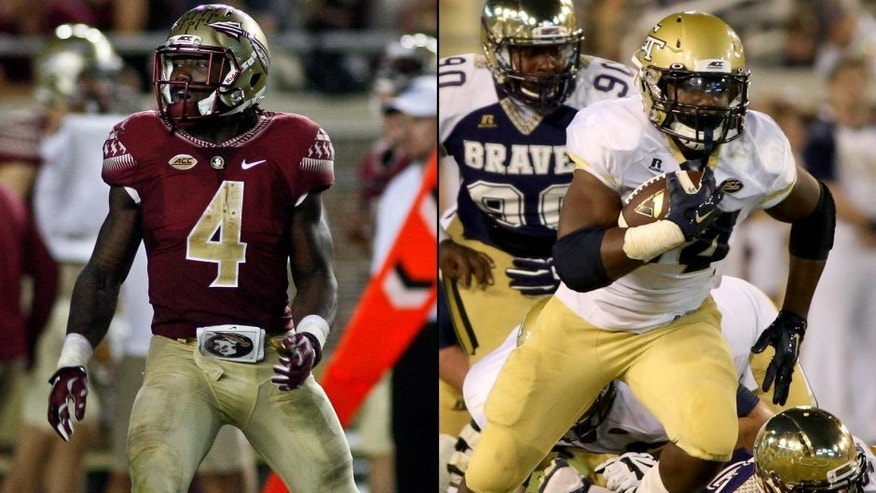 <p>Florida State running back Dalvin Cook (left) and Georgia Tech running back Marcus Marshall (right).<br> </p>