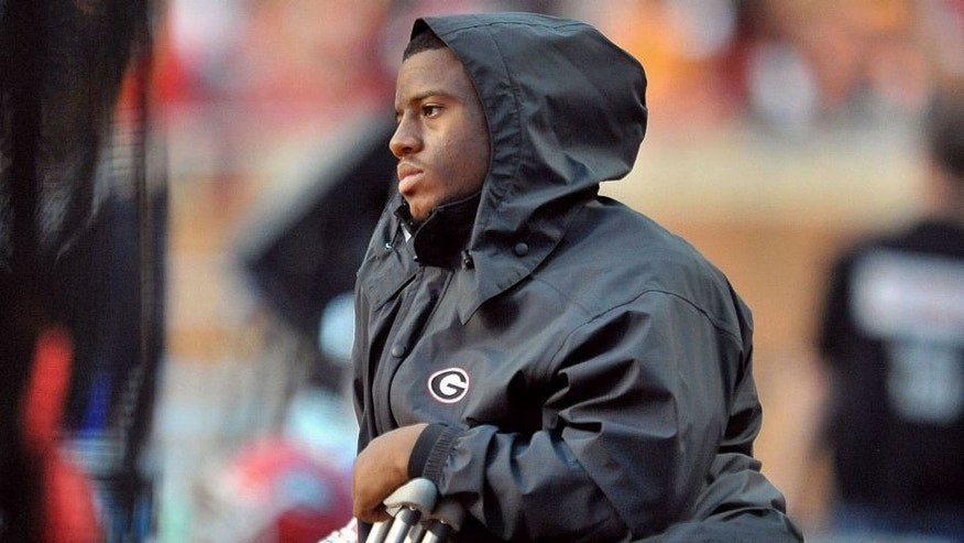 Oct 10, 2015; Knoxville, TN, USA; Georgia Bulldogs running back Nick Chubb (27) on the sideline after being injured during the second half against the Tennessee Volunteers at Neyland Stadium. Tennessee won 38-31. Mandatory Credit: Jim Brown-USA TODAY Sports