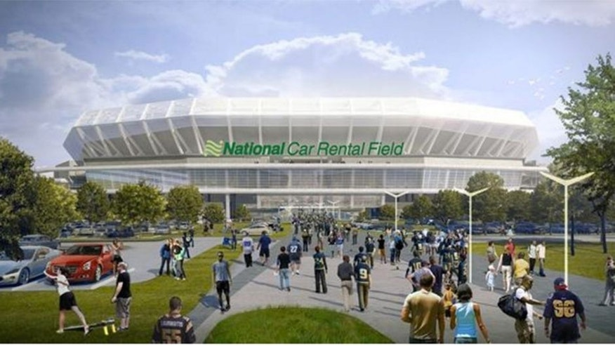 <p>An artist's rendering of a proposed new NFL stadium in St. Louis with naming rights belonging to National Car Rental.<br> </p>