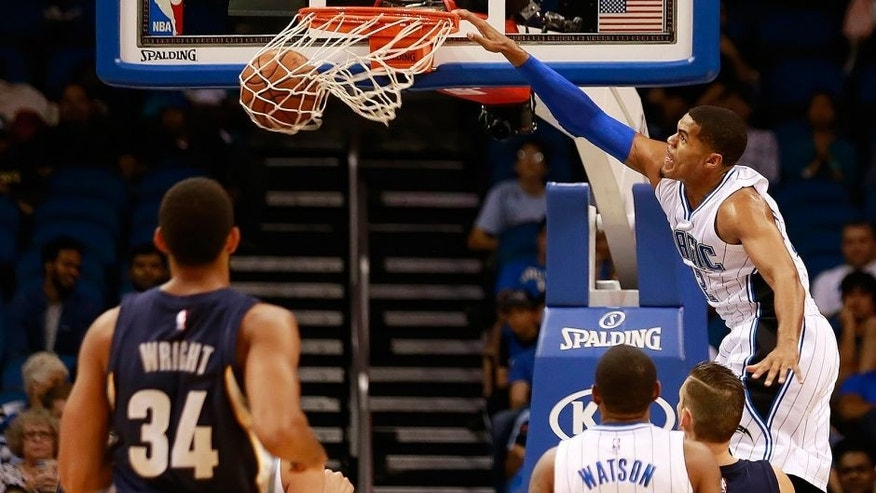 Oct 23, 2015; Orlando, FL, USA; Orlando Magic forward Tobias Harris (12) dunks the ball against the Memphis Grizzlies during the first quarter at Amway Center. Mandatory Credit: Kim Klement-USA TODAY Sports