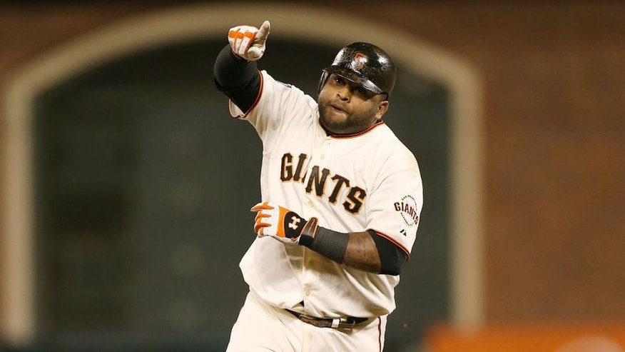 SAN FRANCISCO, CA - OCTOBER 24: Pablo Sandoval #48 of the San Francisco Giants rounds the bases after hitting his third home run during Game 1 of the 2012 World Series in the bottom of the fifth inning against the Detroit Tigers on Wednesday, October 24, 2012 at AT&T Park in San Francisco, California. (Photo by Brad Mangin/MLB Photos via Getty Images) *** Local Caption *** Pablo Sandoval