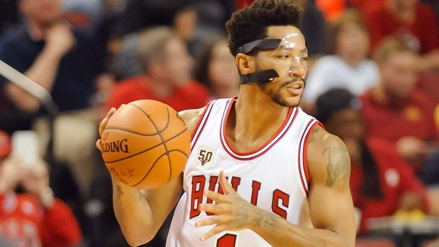 Oct 23, 2015; Lincoln, NE, USA; Chicago Bulls guard Derrick Rose (1) dribbles against the Dallas Mavericks at Pinnacle Bank Arena. Mandatory Credit: Steven Branscombe-USA TODAY Sports