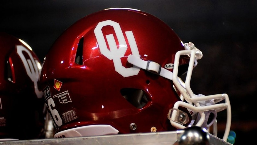 Dec 30, 2011; Tempe, AZ, USA; A general view of an Oklahoma Sooners helmet during a game against Iowa Hawkeyes during the 2011 Insight Bowl at the Sun Devil Stadium. Oklahoma won 31 to 14. Mandatory Credit: Jennifer Hilderbrand-USA TODAY Sports