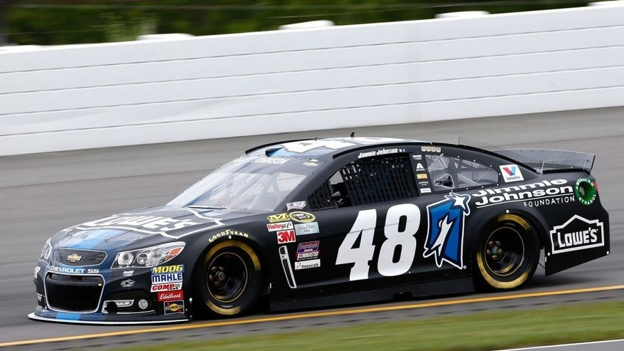 "LONG POND, PA - JUNE 05: Jimmie Johnson, driver of the #48 Lowe's/Jimmie Johnson Foundation Chevrolet, practices for the NASCAR Sprint Cup Series Axalta ""We Paint Winners"" 400 at Pocono Raceway on June 5, 2015 in Long Pond, Pennsylvania. (Photo by Todd Warshaw/NASCAR via Getty Images)"