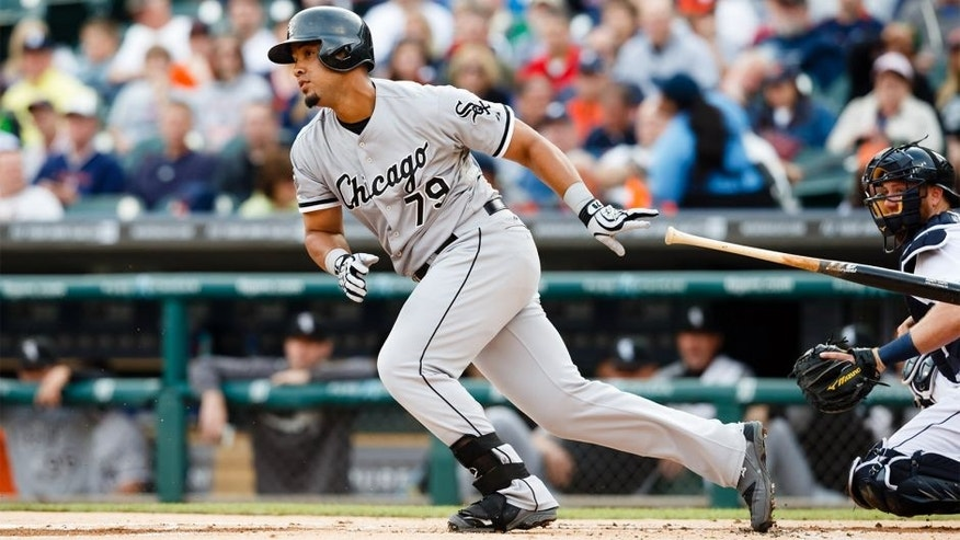 Jul 29, 2014; Detroit, MI, USA; Chicago White Sox first baseman Jose Abreu (79) at bat against the Detroit Tigers at Comerica Park. Mandatory Credit: Rick Osentoski-USA TODAY Sports