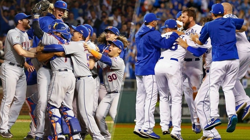 CHICAGO, IL - OCTOBER 21: The New York Mets celebrate an 8-3 victory in Game 4 of the NLCS against the Chicago Cubs at Wrigley Field on Wednesday, October 21, 2015 in Chicago, Illinois. (Photo by Alex Trautwig/MLB Photos via Getty Images) KANSAS CITY, MO - OCTOBER 23: The Kansas City Royals celebrate the 4-3 victory against the Toronto Blue Jays in game six of the 2015 MLB American League Championship Series at Kauffman Stadium on October 23, 2015 in Kansas City, Missouri. (Photo by Jamie Squire/Getty Images)