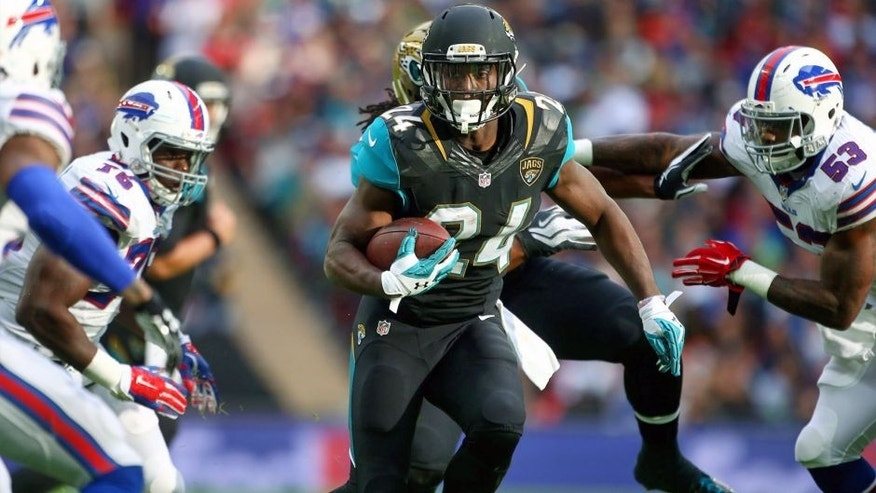 LONDON, ENGLAND - OCTOBER 25: TJ Yeldon #24 of Jacksonville Jaguars runs during the NFL match between Jacksonville Jaguars and Buffalo Bills at Wembley Stadium on October 25, 2015 in London, England. (Photo by Charlie Crowhurst/Getty Images)