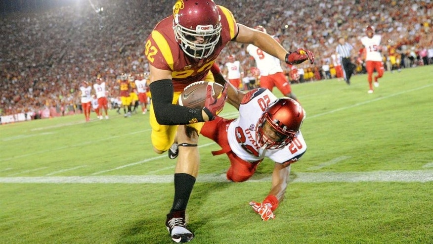 October 24, 2015; Los Angeles, CA, USA; Southern California Trojans tight end Tyler Petite (82) is hit out of bounds by Utah Utes defensive back Marcus Williams (20) during the second half at Los Angeles Memorial Coliseum. Mandatory Credit: Gary A. Vasquez-USA TODAY Sports