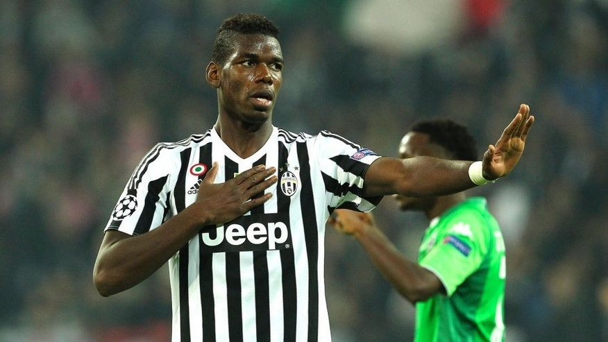 TURIN, ITALY - OCTOBER 21: Paul Pogba of Juventus reacts to a missed chance during the UEFA Champions League group stage match between Juventus and VfL Borussia Moenchengladbach at Juventus Arena on October 21, 2015 in Turin, Italy. (Photo by Marco Luzzani/Getty Images)