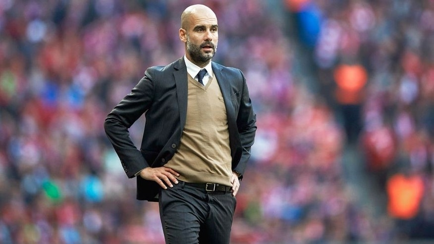 MUNICH, GERMANY - OCTOBER 24: Josep Guardiola Head Coach of FC Bayern Munich gives instructions during the Bundesliga match between FC Bayern Muenchen and 1. FC Koeln at Allianz Arena on October 24, 2015 in Munich, Germany. (Photo by A. Pretty/Getty Images for FC Bayern)