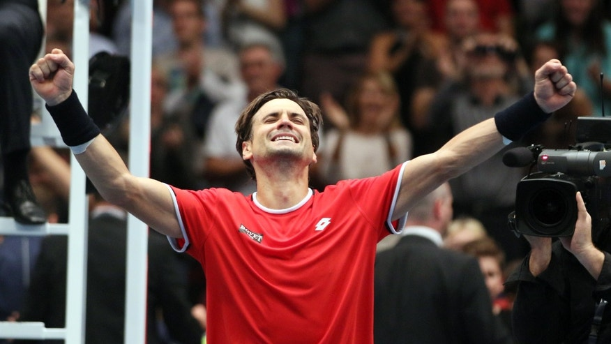 David Ferrer of Spain reacts after winning the final match against Steve Johnson of the United States  at the Erste Bank Open tennis tournament in Vienna, Austria, Sunday, Oct. 25, 2015. (AP Photo/Ronald Zak)
