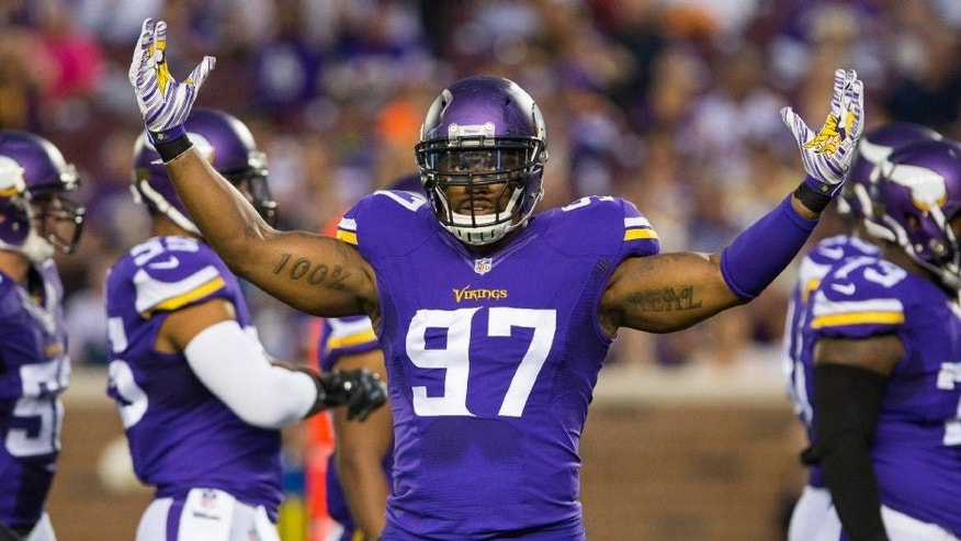 <p>Aug 22, 2015; Minneapolis, MN, USA; Minnesota Vikings defensiive lineman Everson Griffen (97) signals the fans in the first quarter against the Oakland Raiders at TCF Bank Stadium. Mandatory Credit: Brad Rempel-USA TODAY Sports</p>