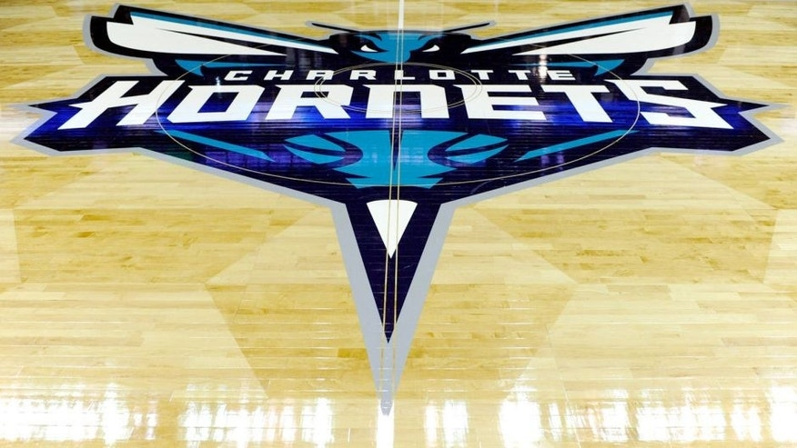 Oct 29, 2014; Charlotte, NC, USA; The basketball court for the Charlotte Hornets sports the new logo before the opening home game against the Milwaukee Bucks at Time Warner Cable Arena. Mandatory Credit: Sam Sharpe-USA TODAY Sports